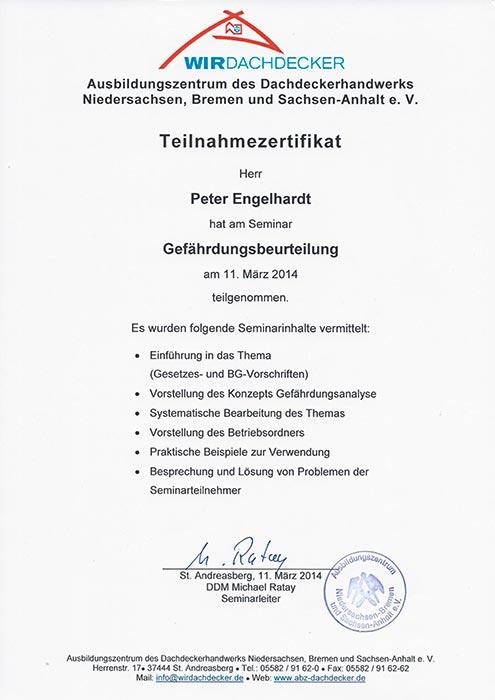 """Teilnahmezertifikat für Peter Engelhardt am Seminar """"Gefährdungsbeurteilung"""""""
