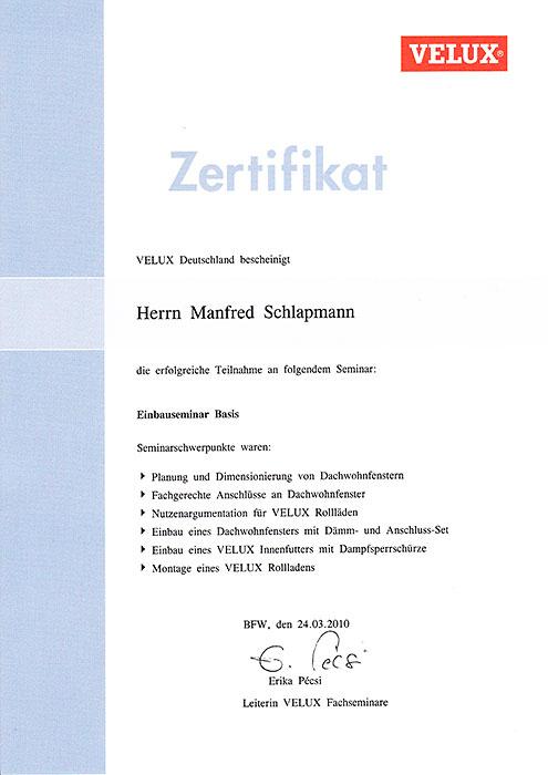 Velux-Zertifikat für Manfred Schlapmann, Engelhardt Dach & Wand GmbH