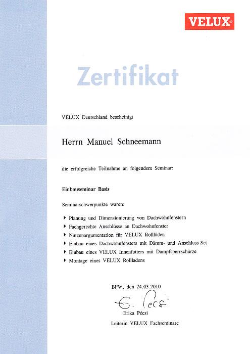 Velux-Zertifikat für Manuel Schneemann, Engelhardt Dach & Wand GmbH