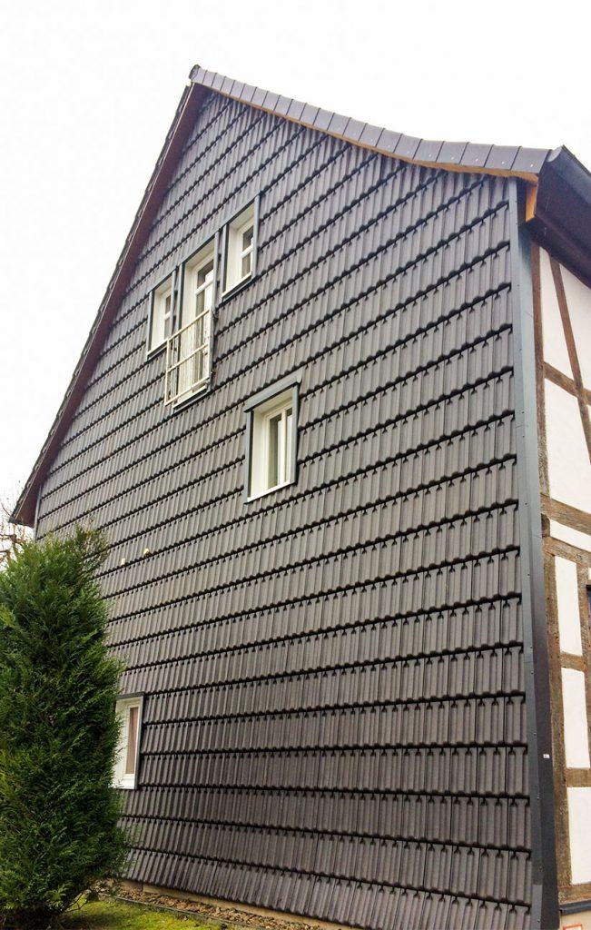 Fassadeverkleidung Giebelwand, Arbeit der Engelhardt Dach & Wand GmbH