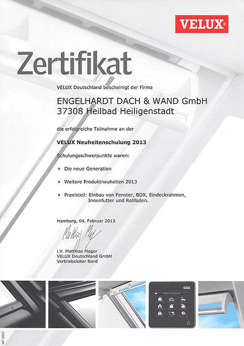 VELUX-Zertifikat der Engelhardt Dach & Wand GmbH