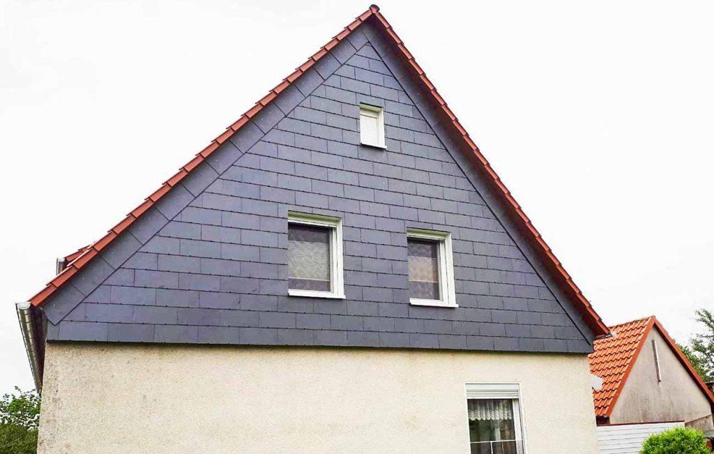 Schiefer-Fassade am Giebel, Arbeit der Engelhardt Dach & Wand GmbH