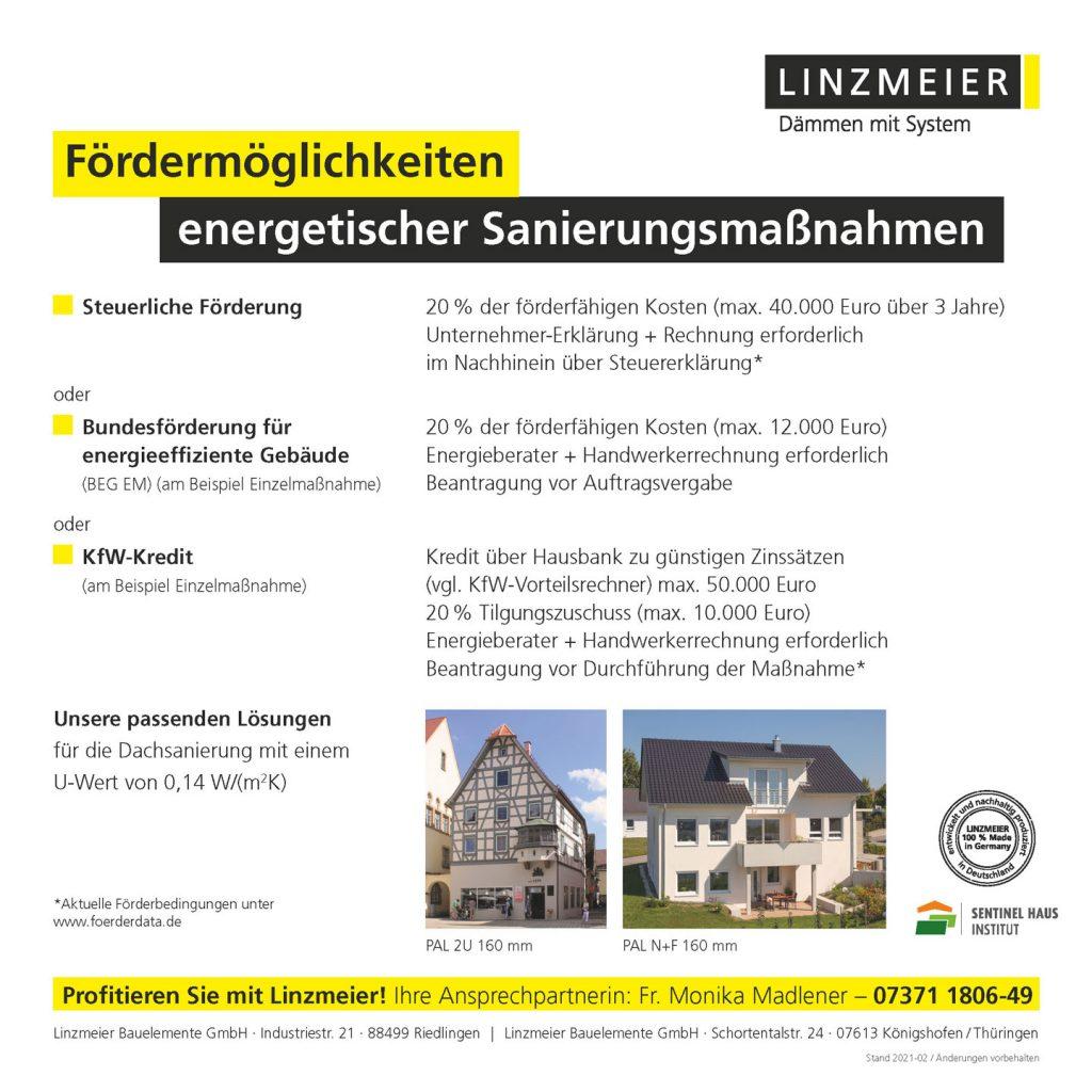 Förderungsflyer Seite 2 von LINZMEIER, Partner der Engelhardt Dach & Wand GmbH
